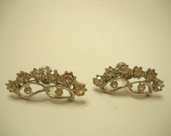 Vintage Rhinestone Screw Back Earrings (7300)