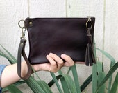 Brown Leather Zip pouch with Tassel   Wristlet Clutch   Leather Tassle   Leather Clutch