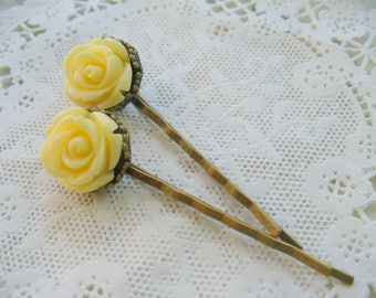Ivory Rose Hairpins, Antique Brass, Crown Hair Clips, Hair Accessories, Flowers, Bobby Pins, Weddings