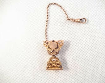 Bates and Bacon, 1903, Gold Filled Watch Fob and Chain, Engraved M