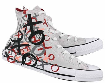 Converse High Top Ice Gray Valentines Love Kisses Canvas w/ Swarovski Crystal Custom Bling Rhinestone Chuck Taylor All Star Sneaker Shoes
