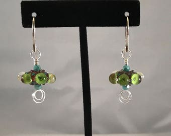 Artisan Lampwork Glass, Crystal, and Sterling Silver Earrings