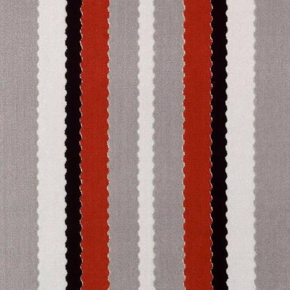 Red Grey Velvet Stripe Upholstery Fabric Modern Black White