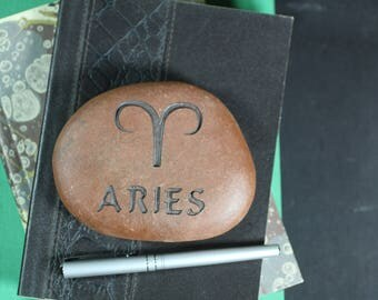 Aries Zodiac engraved stone