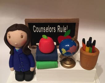 Principal business card holder,clay,desktop card holder,business cards,teacher,school,polymer clay,handcrafted