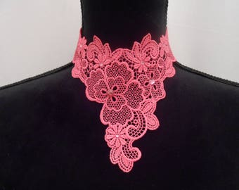 Pink lace necklace with Swarovski Crystal rhinestones