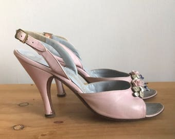 1950s Herbert Levine Pin up Style Baby Pink Leather Open Toe Sling Back Heels with Porcelain Flowers and Rhinestone Detail at Vamp