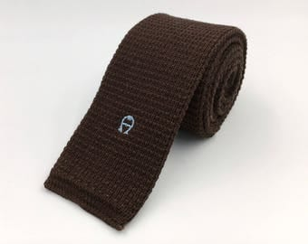Vintage 1980s Brown Cotton Square End Knit Tie by Aigner