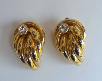 Gold Rhinestone Earrings Angel Wings Vintage Large Clip on Anniversary Gift Theatre Screen Stage Accessory