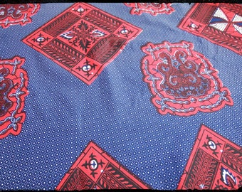 Blue African wax fabric and Red/Ankara/African Wax print
