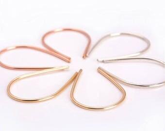 Arc Earrings, Open Hoop Earrings, Geometric Earrings, Gold-Rose Gold- Sterling Silver Wire Earrings, Horseshoe Earrings, Half Hoop Earrings