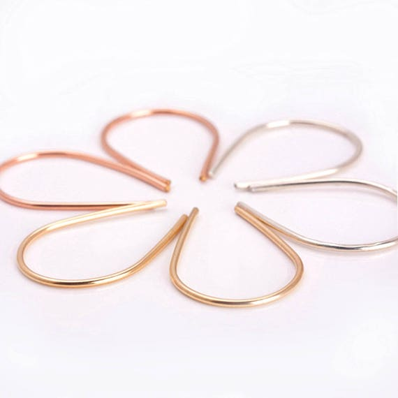 Arc Earrings, Open Hoop Earrings, Geometric Earrings, Gold-Rose Gold- Sterling Silver Wire Earrings, Horseshoe Earrings, Half Hoop Earrings