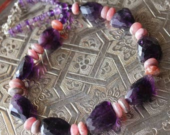 Faceted stones of amethyst, Rhodocrosite and Silver 925 necklace