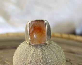 silver ring and chalcedony gemstone ring