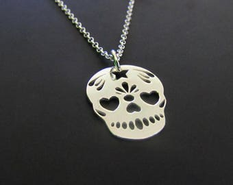 Sugar Skull Necklace, Sterling Silver Necklace, Charm Necklace, Jewelry, Gift for her