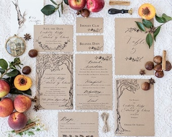 Sepia Trees kraft card Wedding Invitation & Packages   Custom Calligraphy Wedding   rustic tree Wedding   The Orchard Collection