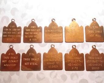 1 Set of Coppercoated Ten Commandments Pendants