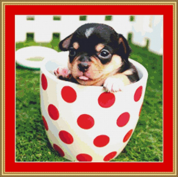 Chihuahua In  Cup Cross Stitch Pattern /Digital PDF Files /Instant downloadable