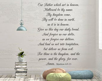 "Vinyl Wall Decal | The Lord's Prayer Matthew 6:9-13 | ""Our Father which art in heaven, Hallowed be thy name. Thy kingdom come..."""