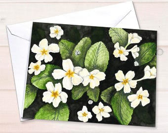 Watercolor notecard, primroses, spring flowers, gardening notecard, personal stationery, grandmothers garden, floral stationery, art reprint