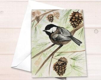 Chickadee Christmas card, Chickadee notecard, watercolor chickadee, chickadee painting, bird lover notecard, nature lover notecard