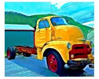 Old Truck, Alaska, Big Yellow Truck 8x10 11x14 16x20 Glicee Print - The Turnip Truck - Korpita