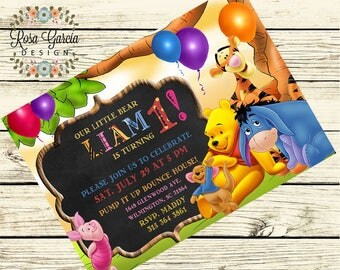 Winnie the Pooh Bear BIRTHDAY INVITATION, POOH Bear Birthday Party, Pooh Bear Birthday - Pooh Bear, Tigger, Piglet, Eeyore, Roo, Rabbit Bday