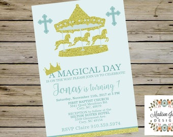 CAROUSEL BAPTISM INVITATION - One Year Old Boy Baptism Birthday Invitation - Blue Carousel First Birthday Invite - Boy Baptism