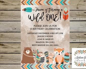 WOODLAND Fox Bear Birthday INVITATION, A Wild One Boy Birthday Invitation, Woodland Birthday Invitation, Tribal Boho Birthday Invite