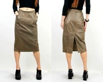 80s Leather Skirt / Khaki Leather Skirt / Vintage Leather Skirt / Pencil Skirt / Leather Skirt / High Waisted Skirt/ Large Skirt/ Midi Skirt