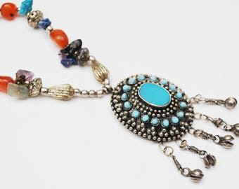 Boho Turquoise Blue and silver Pendant necklace - silver blue lapis howlite carnelian amethyst turquoise gemstone  -