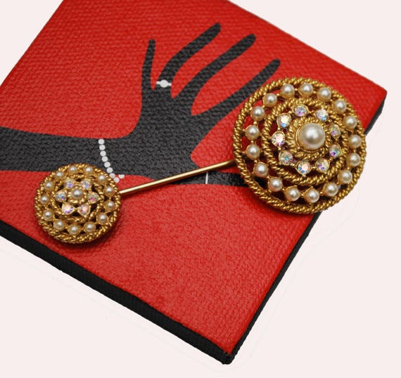 Pearl Rhinestone  Stick Pin - Layer round domed pin - gold metal Stickpin