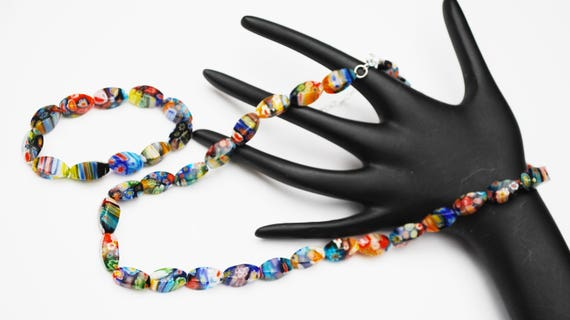 Italian Glass bead Necklace and Bracelet set - Murano colorful flower beads -  Venitian  - streched bracelet
