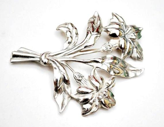 Sterling Flower Brooch - Signed Danecraft - Large Art Nouveau floral Silver pin - 29 grams