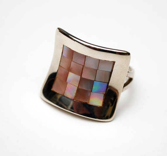 Sterling ring - Mother of Pearl Inlay - size 7 - white Mop gemstone - Concave Square - Gift for her