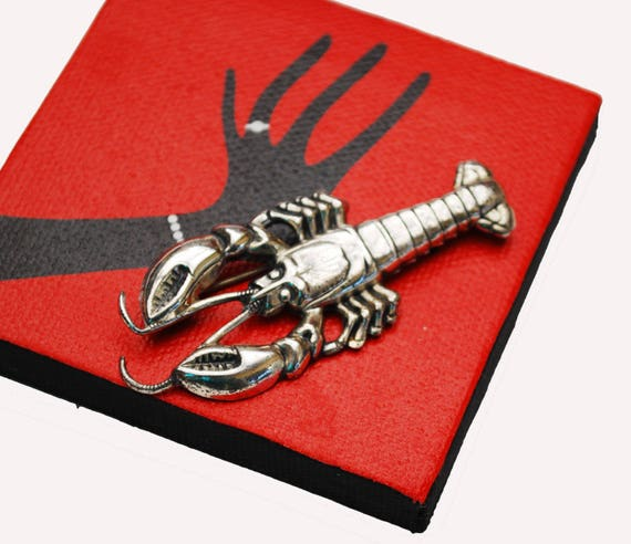 Sterling Lobster Brooch - Silver - ocean  sea life - Crustation - figurine pin