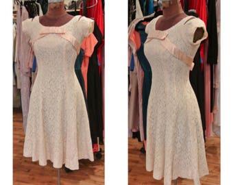 1950s Cream and Pink Lace Party Dress Vintage Midi Dress Silk Satin Cocktail Dress Short Wedding Dress Graduation Dress Cold Shoulder Dress