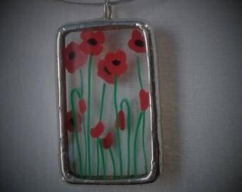 "Necklace ""Poppy"" - wild flower"