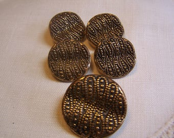 Vintage Brass Tone Buttons, Textured & Wavy, Set of 5, 2 Sizes (1714)