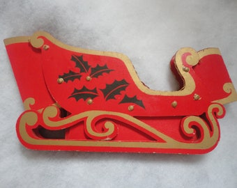Vintage Collapsible Bright Red Christmas Sleigh Card Holder, Collasopible Sleigh, Red Christmas Sleigh, Folding Red Christmas Sleigh
