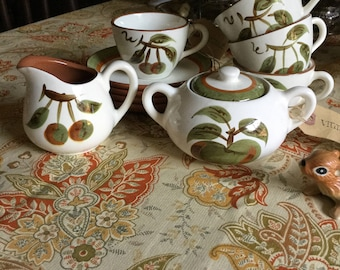 Lovely Vintage Stangl Orchard Song Coffe Cups/Saucers/Creamer/Sugar Bowl Bright Orange Flower Design