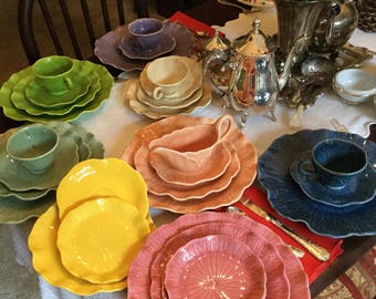 17 Piece Metlox  Poppy Trail California-Lotus-Assorted Colored Plates/Cups/SaucersDessert Dishes