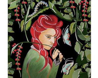 Illustration Art Print, Redheaded Girl & Green Leaves, Mixed Media, Giclee Print, Home Decor Wall Art