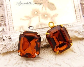 Vintage Swarovski Dark Smoked Topaz 12x10mm Octagon Faceted Glass Set Stones in Antique Silver or Brass Drop or Connector Settings - 2