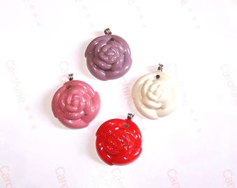 Handmade resin 4 25 mm flower cabochons