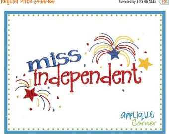 50% Off INSTANT DOWNLOAD Miss Independent 4th of July applique design in digital format for embroidery machine by Applique Corner