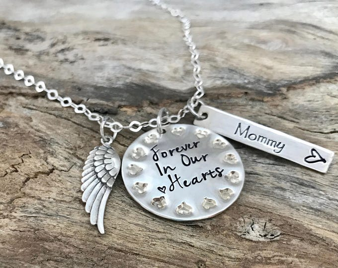 Personalized necklace with Angel Wing | Memorial | Loss of Grandma|Loss of Grandpa | Dad memorial | Mom Remembrance| Forever in our hearts
