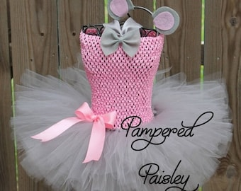 PRE HALLOWEEN SALE Gray and pink mouse tutu, mouse halloween costume, mouse baby costume, mouse infant tutu, pink mouse ears, Halloween tutu