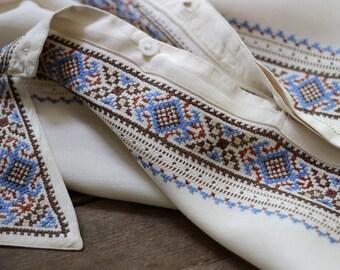 men's silk shirt, Ukrainian shirt, traditional shirt Ukraine, vyshyvanka shirt, ivory silk shirt, embroidered silk shirt, folk shirt vintage