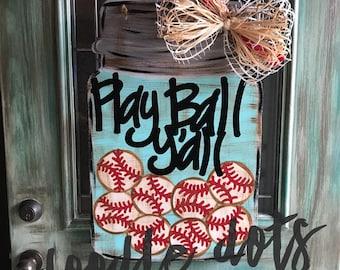Mason Jar Baseball/Softball Door hanger